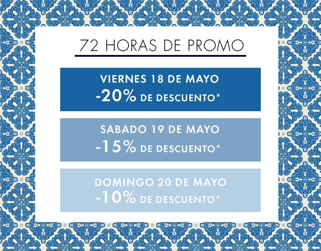 Viernes 18 de mayo  : -20% de descuento / Sabado 19 de mayo : -15% de descuento / Domingo 20 de mayo  : -10% de descuento